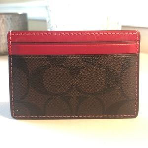 Coach Bags - Coach card wallet - signature print / leather trim